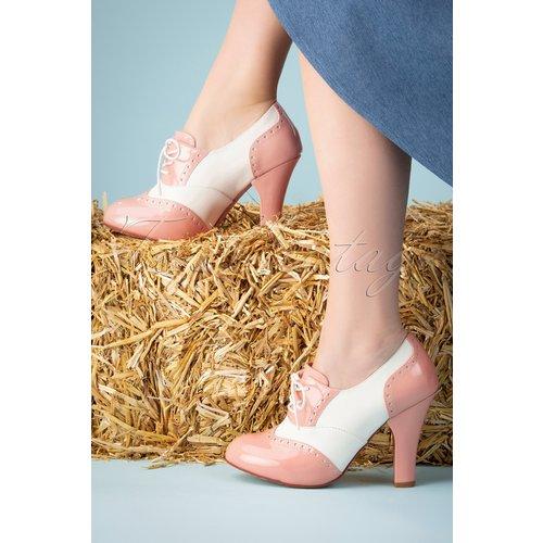 June Cotton Candy Shoe Booties Années 50 en Ivoire et Nude - Lola Ramona ♥ TopVintage - Modalova