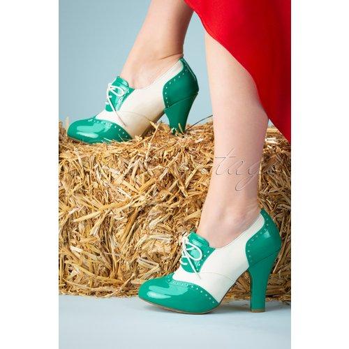 June Cotton Candy Shoe Booties Années 50 en Ivoire et Jade - Lola Ramona ♥ TopVintage - Modalova