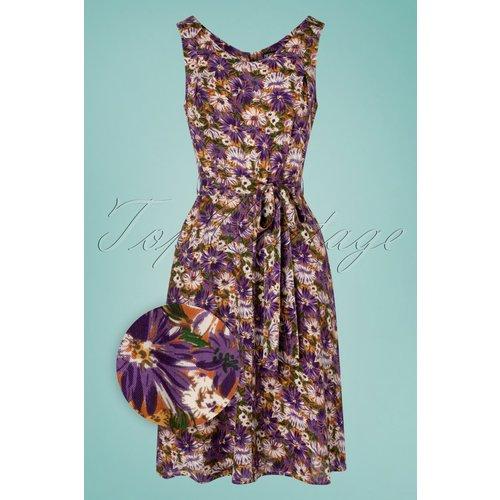 Minnie Floral Dress Années 70 en Violet - Pretty Vacant - Modalova