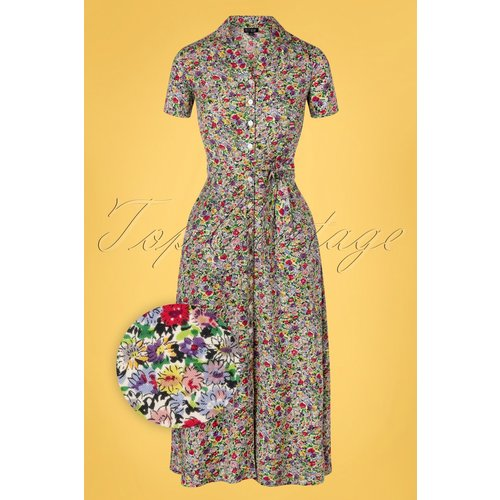 Jonie Ditsy Floral Midi Dress Années 60 en Multi - Pretty Vacant - Modalova