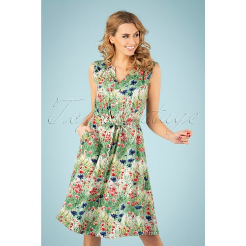 Cilla Wild Flower Dress Années 60 en Multi - Pretty Vacant - Modalova