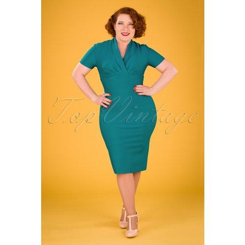 Petra Pencil Dress Années 50 en Vert Canard - Zoe Vine - Modalova