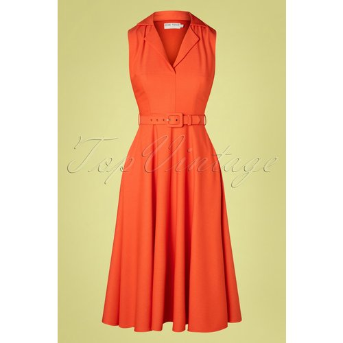 Helen Shirt Swing Dress Années 50 en Tangerine - Zoe Vine - Modalova