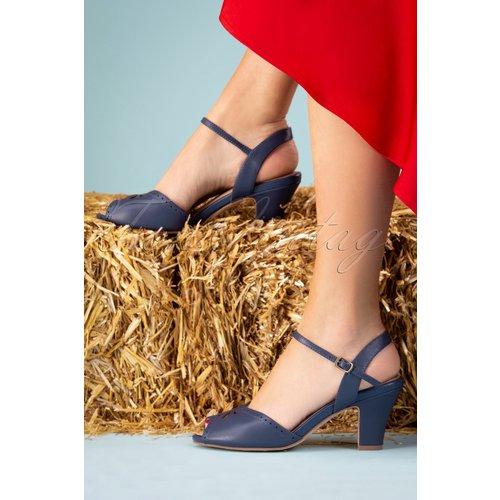 Ava At The Kissing Booth Sandals Années 50 en Marine - Lola Ramona ♥ TopVintage - Modalova