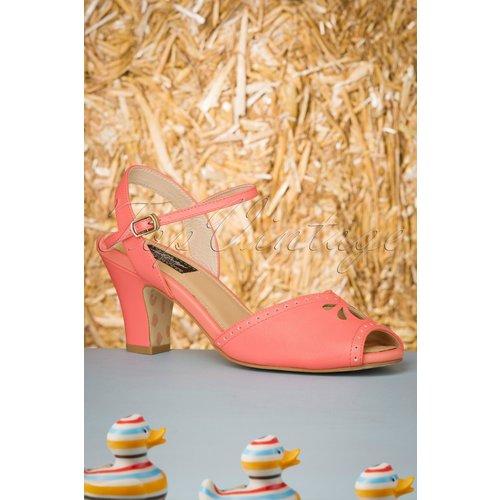 Ava At The Kissing Booth Sandals Années 50 en Corail - Lola Ramona ♥ TopVintage - Modalova