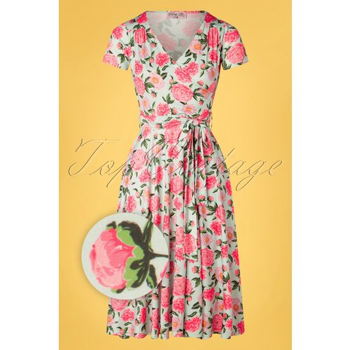 Faith Floral Swing Dress Années 50 en Menthe - vintage chic for topvintage - Modalova