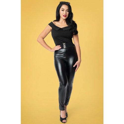 Grease Sandy Vegan Leather Cigarette Pants Années 50 en - unique vintage - Modalova