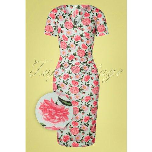 Vera Floral Pencil Dress Années 50 en Menthe - vintage chic for topvintage - Modalova