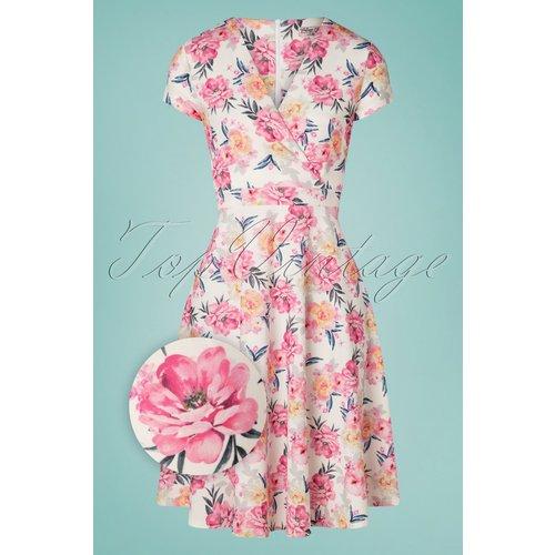 Kathya Floral Swing Dress Années 50 en Ivoire - vintage chic for topvintage - Modalova