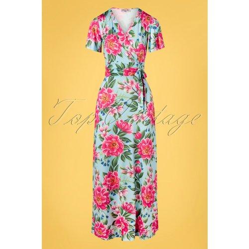 Milene Floral Cross Over Maxi Dress Années 50 en et - vintage chic for topvintage - Modalova