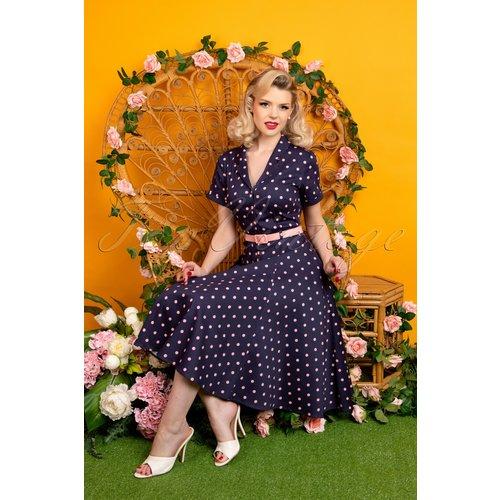 Caterina Pretty Polka Swing Dress Années 50 en Marine et Rose - Collectif ♥ TopVintage - Modalova