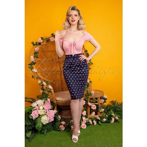 Polly Pretty Polka Pencil Skirt Années 50 en Marine et Rose - Collectif ♥ TopVintage - Modalova