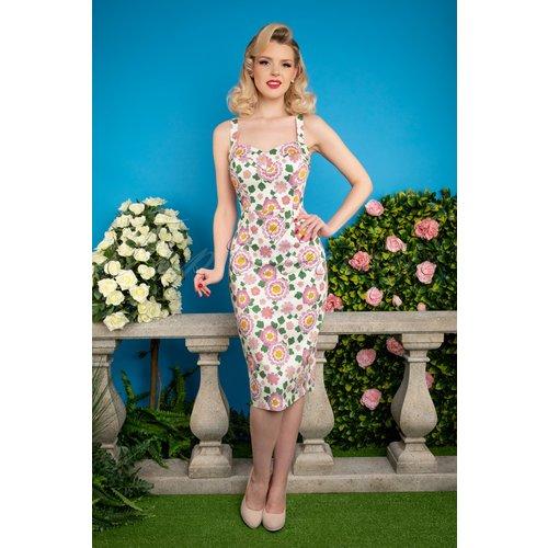 Kiana Flower Power Pencil Dress Années 50 en et - Collectif ♥ TopVintage - Modalova