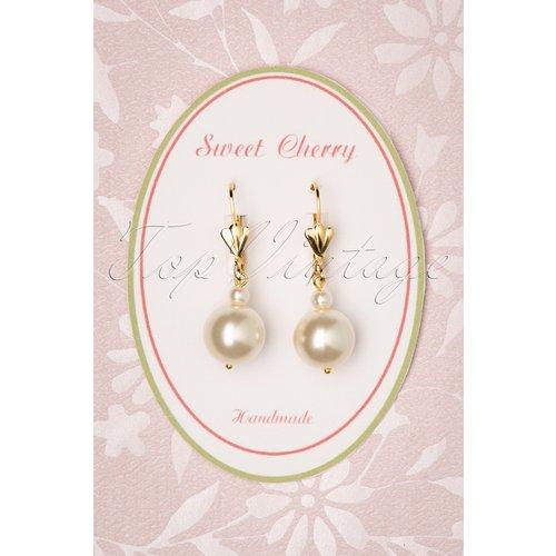 Champagne Pearl Earrings Années 50 en Doré et Ivoire - sweet cherry - Modalova