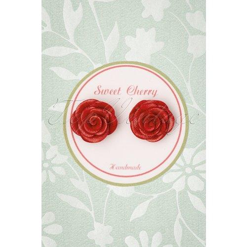 Peony Rose Earstuds Années 50 en et Doré - sweet cherry - Modalova