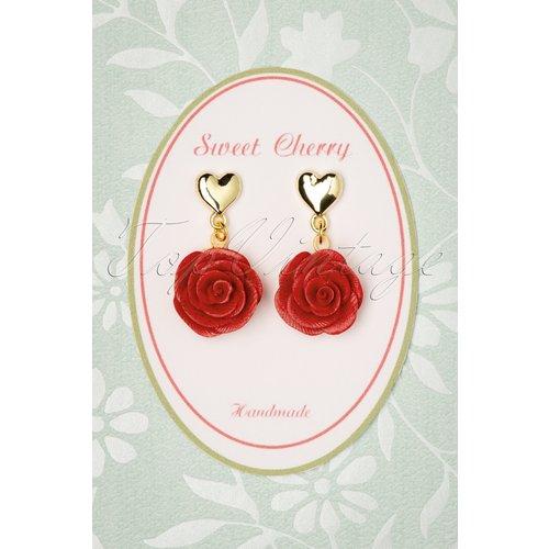 Peony Rose Heart Earrings Années 50 en et Doré - sweet cherry - Modalova