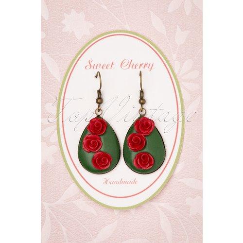 Romantic Rose Drop Earrings Années 50 en et - sweet cherry - Modalova