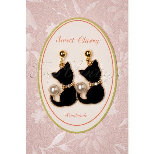 Pearl Cat Drop Earrings Années 50 en Doré - sweet cherry - Modalova