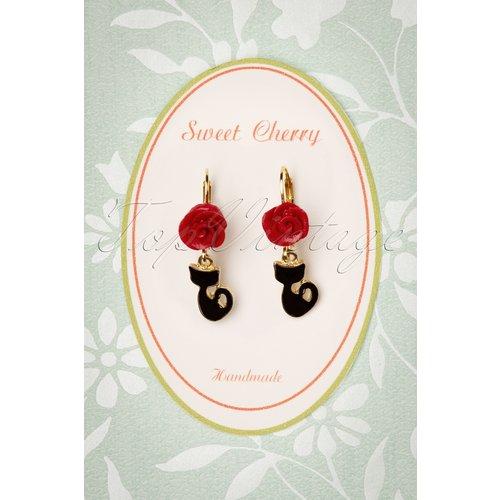 Fine Cat Earrings Années 50 en Doré - sweet cherry - Modalova