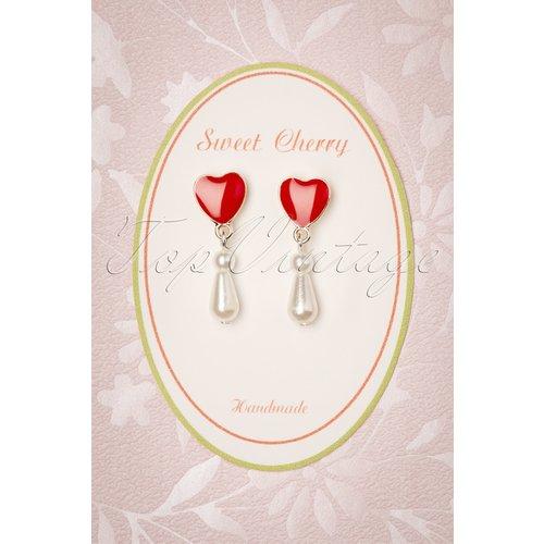 Pearl Love Drop Earrings Années 50 en Ivoire - sweet cherry - Modalova