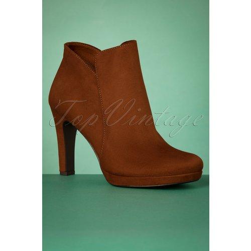 Classy Suedine Ankle Booties Années 50 en Cognac - tamaris - Modalova