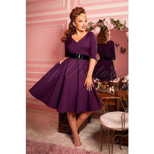 Aviva Swing Dress Années 50 en Violet Roi - glamour bunny - Modalova