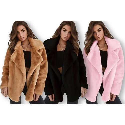 Women's Teddy Coat - White, Black, Pink & Brown!