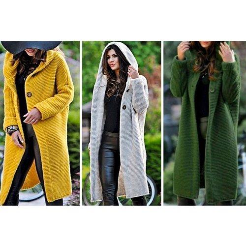 Women's Long Cardigan - Yellow, Red, Grey or Green!