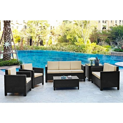 6pc Rattan Garden Furniture Set - Black or Brown - Seats Up To 7