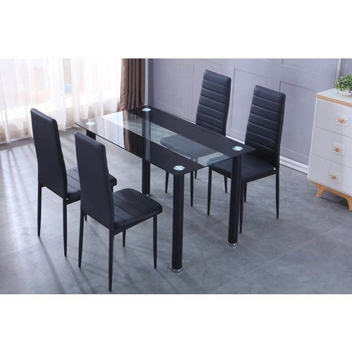 Modern Dining Set - Glass-Top Table & Faux Leather Chairs
