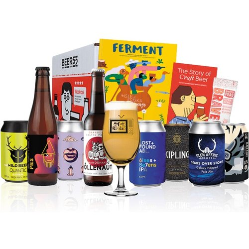 Save 44% - Beer52 Christmas Craft Hamper - 8 Beers, Snack, Glass & More