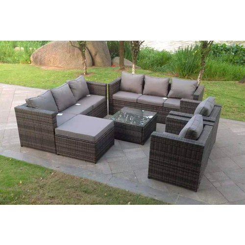 9-Seater Rattan Garden Furniture Set - Mixed Grey