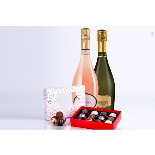 Save 52% - Valentine's Prosecco & Chocolate Gift Hamper - 2 Bottles!