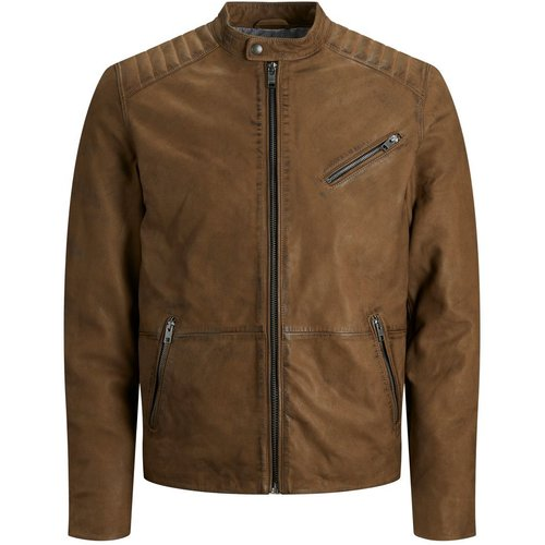 Classique Veste En Cuir Men brown - jack & jones - Modalova