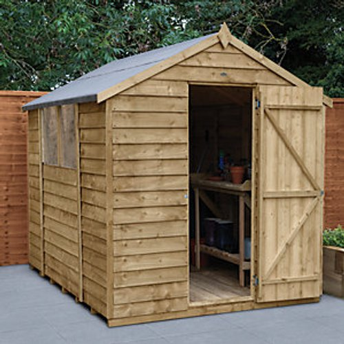 Forest Garden Forest Garden 8 x 6 ft Apex Overlap Pressure Treated Shed