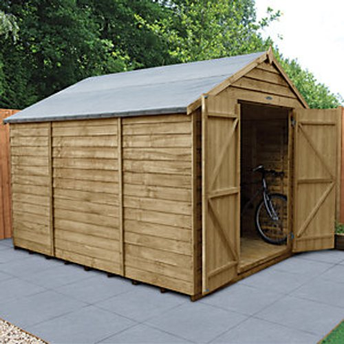 Forest Garden Forest Garden 10 x 8 ft Large Apex Overlap Pressure Treated Double Door Windowless Shed