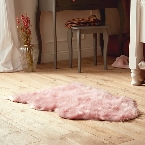 Pink Faux Sheep Skin Rug