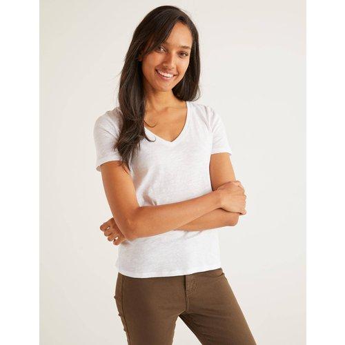 T-shirt col V en coton WHT  - Boden - Modalova