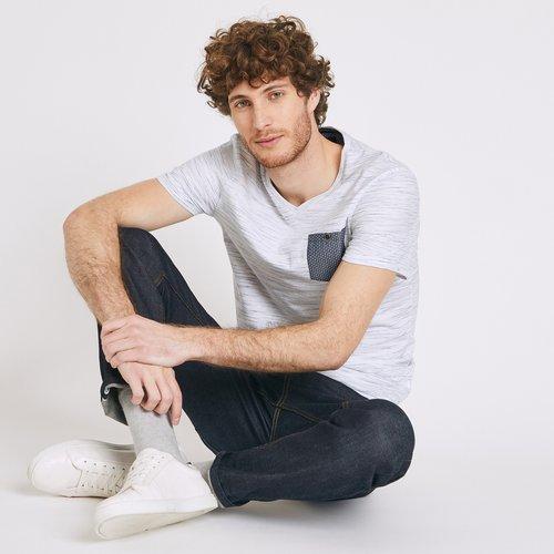 T-shirt col V poche contrastée - Brice - Modalova