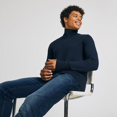 Pull col roulé en coton Bleu Homme - Brice - Modalova