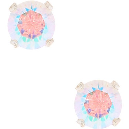 Clous d'oreilles ronds aurore boréale avec strass en zircon cubique d'imitation couleur - 5 mm - Claire's - Modalova