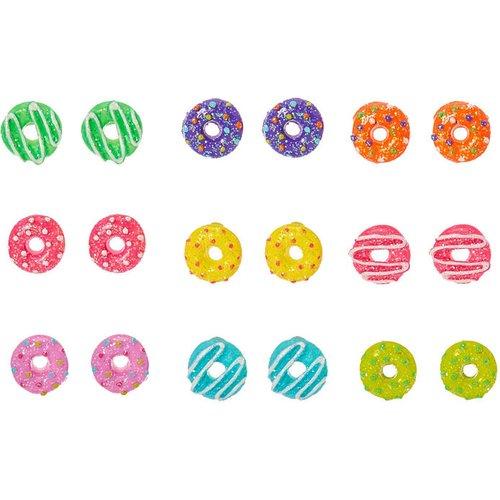 Clous d'oreilles donut arc-en-ciel à paillettes - Lot de 9 - Claire's - Modalova