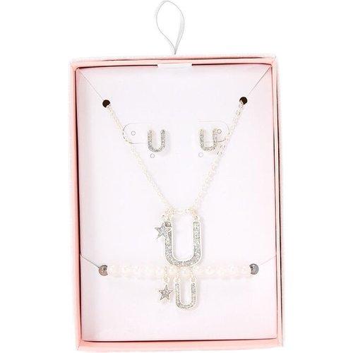 Parure de bijoux couleur à paillettes irisées lettre U - Claire's - Modalova