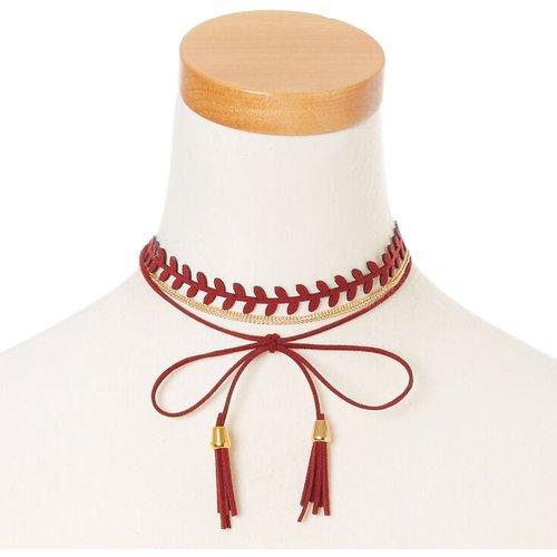 Bandeau et ras-de-cou chaîne couleur dorée et cordon à pompon couleur bordeaux - Claire's - Modalova