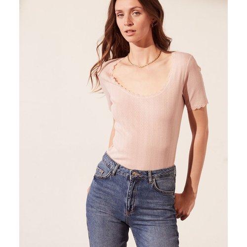 T-shirt pointelle en coton bio détails en dentelle - Pointie - XL - - Etam - Modalova