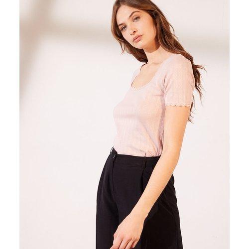 T-shirt pointelle en coton bio détails en dentelle - Pinta - XL - - Etam - Modalova