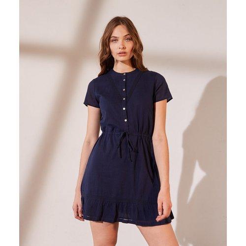 Robe chemise ceinturée détails en dentelle - Monica - 34 - - Etam - Modalova