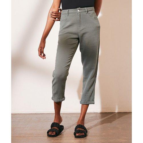 Pantalon chino en gaze de coton - Aqua - XS - - Etam - Modalova