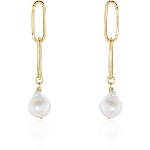 Boucles D'oreilles Pendantes Soalie Plaque Or Perle D'imitation - Histoire d'Or - Modalova