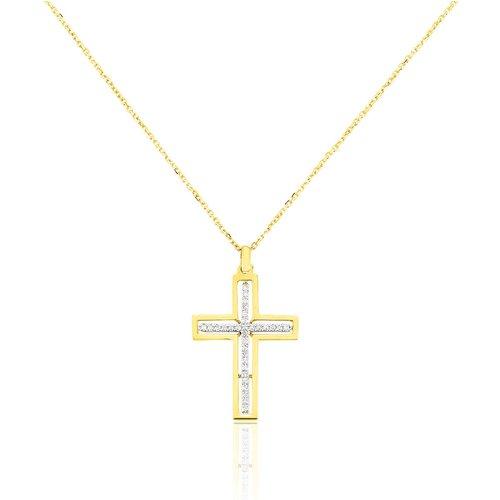 Collier Croix Or Jaune Diamant - Histoire d'Or - Modalova